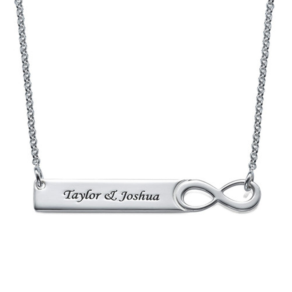 Infinity Bar Necklace with Engraving Sterling Silver