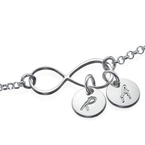 Infinity Bracelet with Two Initial letters Charms