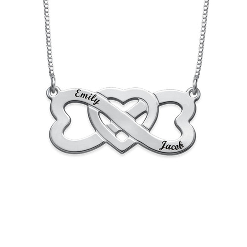 Infinity Heart in the Middle Necklace with Names