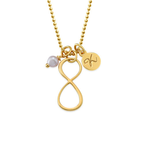 Infinity Necklace with Initial charm in Gold Plating and Rose Gold Plating