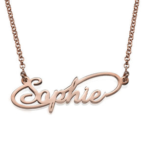 Infinity Style Name Necklace with Gold Plating and Rose Gold Plated