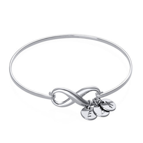 Infinity bangle with Three initial charms
