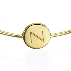 Initial Bangle Bracelet 18k Gold Plated