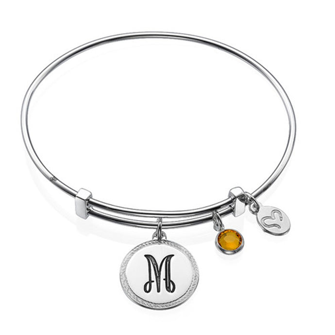 Initial Bangle with Charms And Birthstone