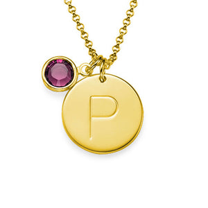 Initial Charm Pendant with Birthstone With One Letters