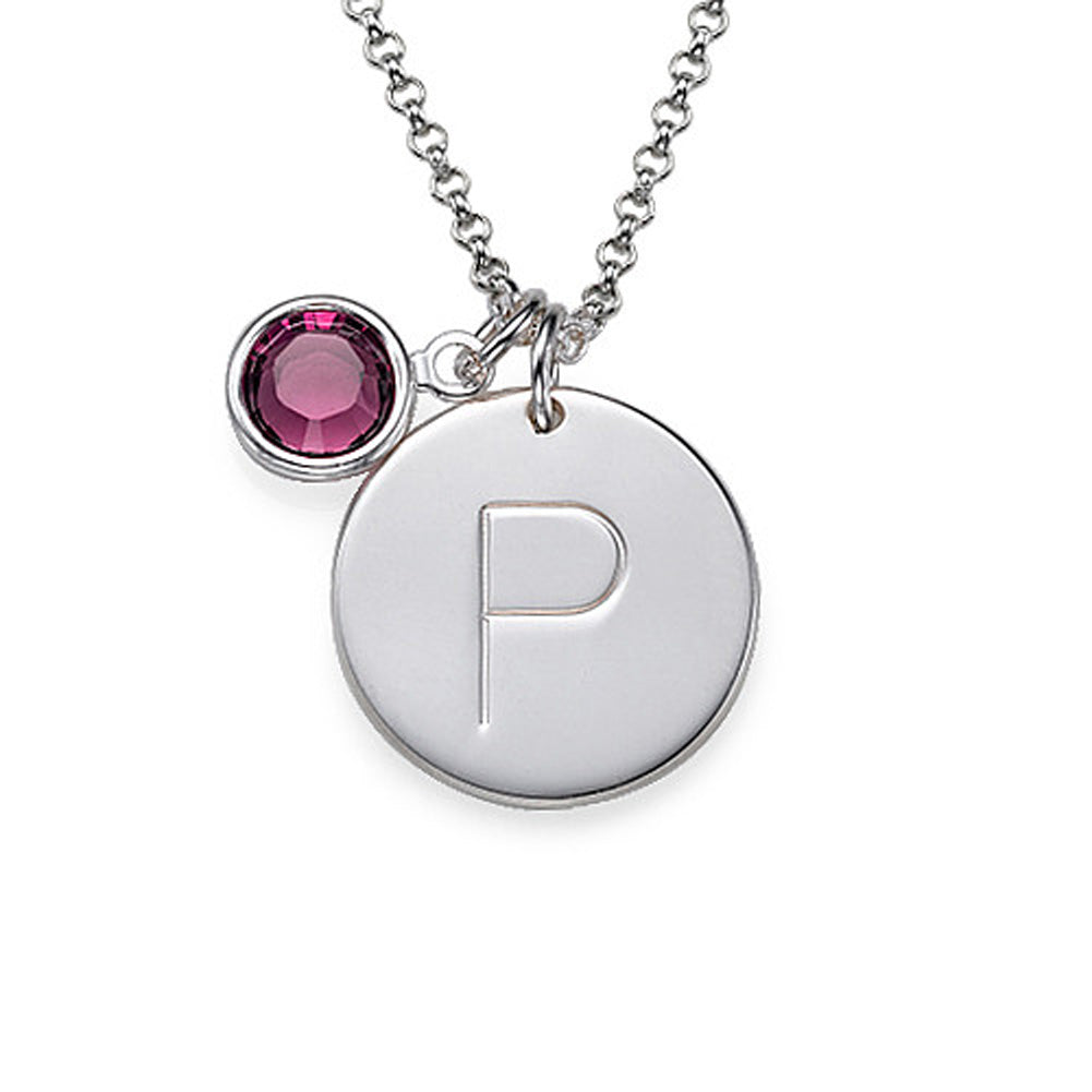 Initial Charm Pendant with Birthstone