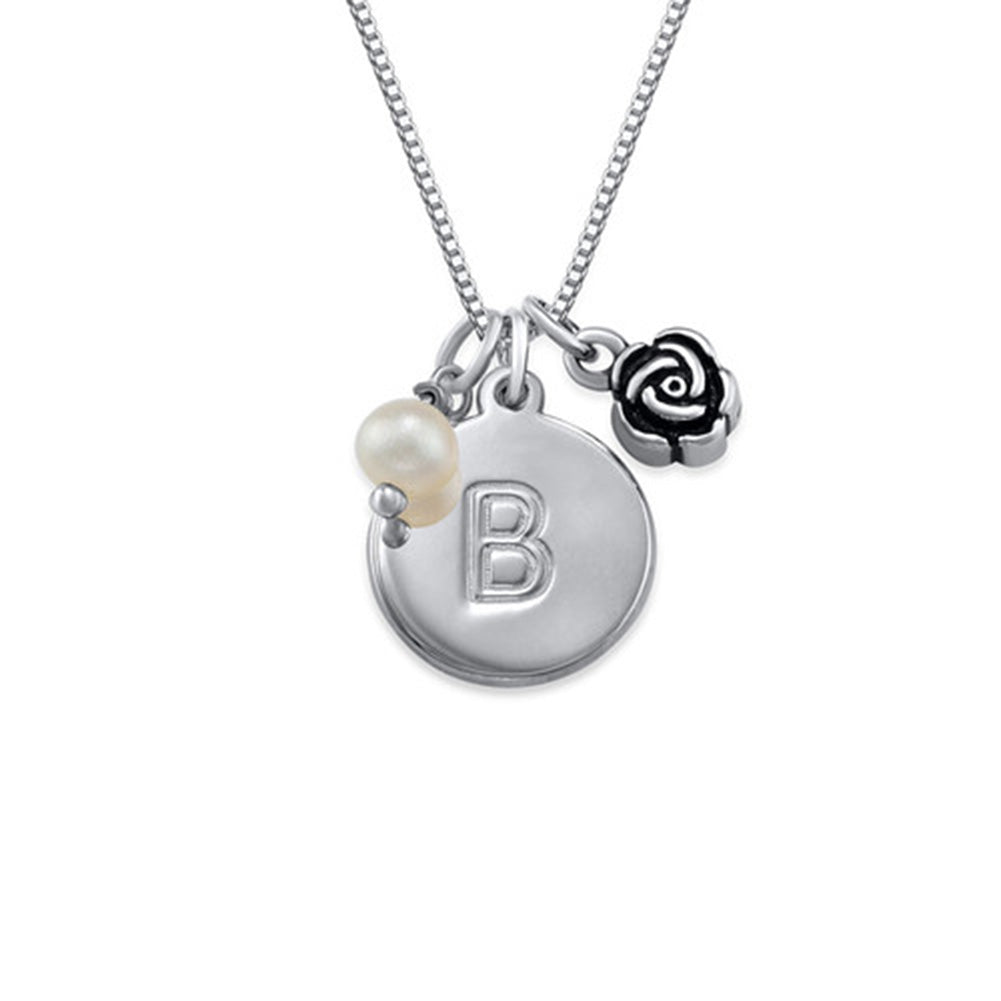 Personalized Initial Circle Necklace with pearl and rose charm in Silver