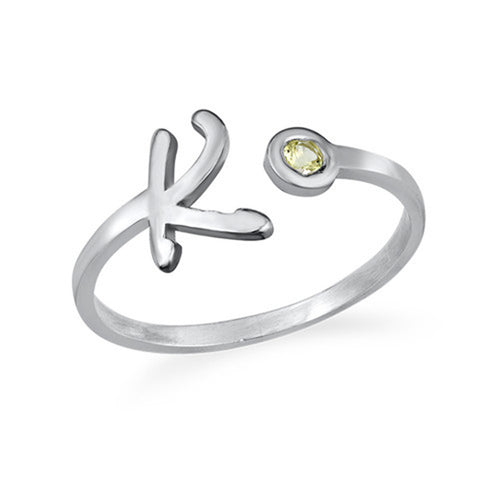 Initial Open Ring with Birthstone by Sterling Silver