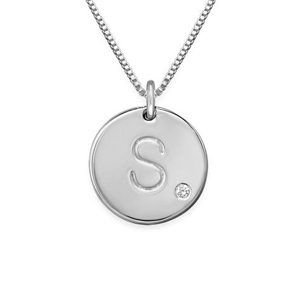 Initial Sterling Silver Birthstone Necklace