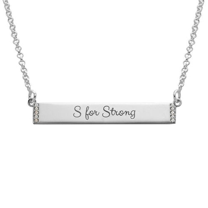 Inspirational Bar Necklace with Cubic Zirconia in Sterling Silver