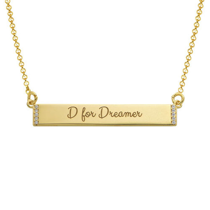 Inspirational Bar Necklace with Cubic Zirconia with 18K Gold Plating