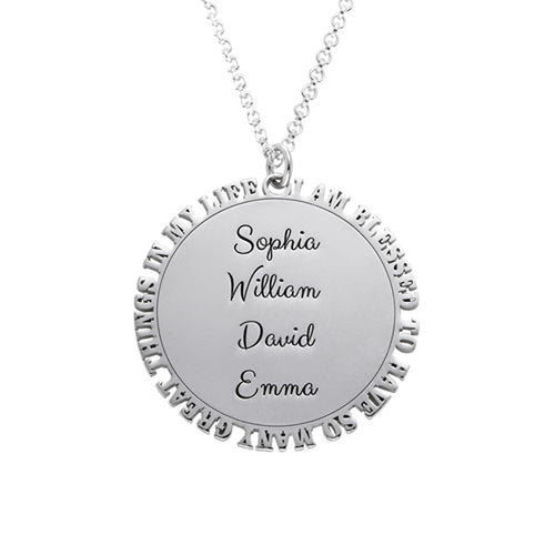Inspirational Family Disc Necklace in Silver Sterling Like a Sun