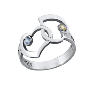 Interlocking Hearts Ring with Cut Out Names