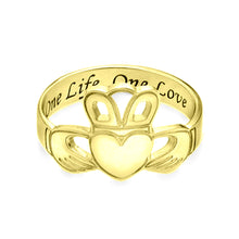 Load image into Gallery viewer, Irish Claddagh Ring with Engraving