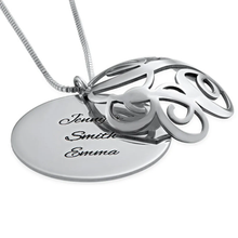 Load image into Gallery viewer, Personalized 3D Monogram Necklace Engravable Disc Pendant