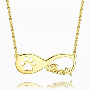Dog Paw Print Infinity Name Necklace Silver