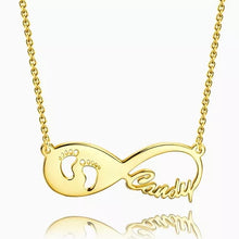 Load image into Gallery viewer, Gift For New Mom - Baby Footprint Infinity Name Necklace Gold Plated Silver