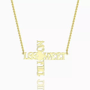 Personalized Cross Two Name Necklace 18k Gold Plated Silver
