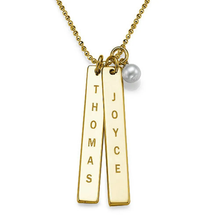 Load image into Gallery viewer, Custom Engraved Vertical Bar Necklace with Pearl