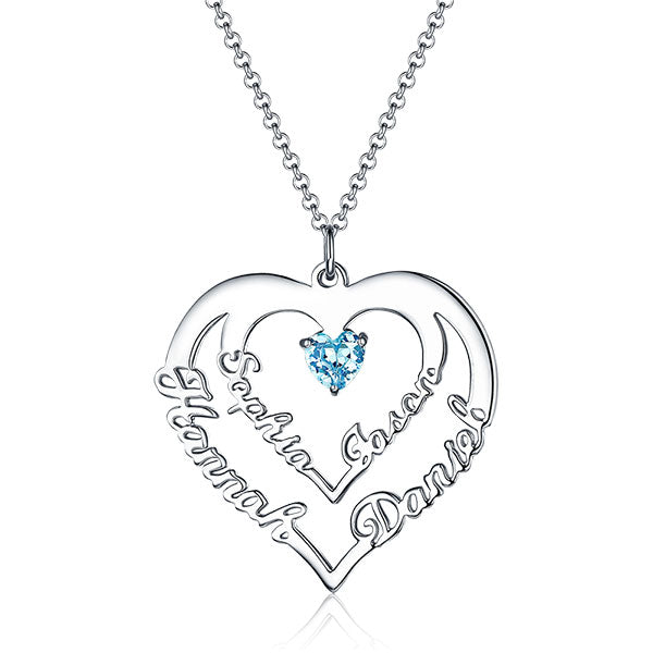 Personalized Heart Necklace with 4 Names & Birthstones in Sterling Silver