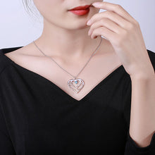 Load image into Gallery viewer, Personalized Heart Necklace with 4 Names & Birthstones in Sterling Silver