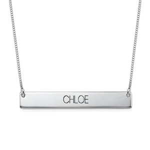 Sterling Silver Bar Necklace with Name Engraved