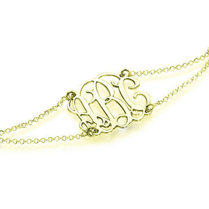 Monogrammed Bracelet with Double Chain