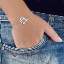 Load image into Gallery viewer, Monogrammed Bracelet with Double Chain
