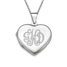 Load image into Gallery viewer, Monogrammed Heart Locket Necklace 3 Letters