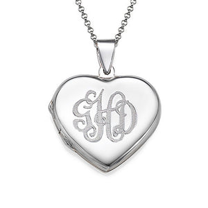 Monogrammed Heart Locket Necklace 3 Letters