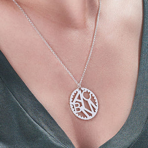 Multi Initials Circle Necklace in Silver Sterling