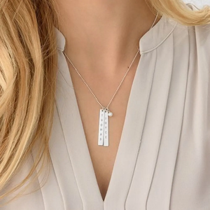 Custom Engraved Vertical Bar Necklace with Pearl