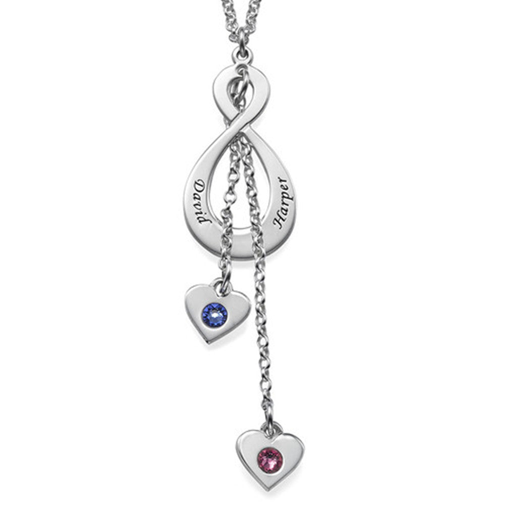 Never ending Love Infinity Necklace with birthstones