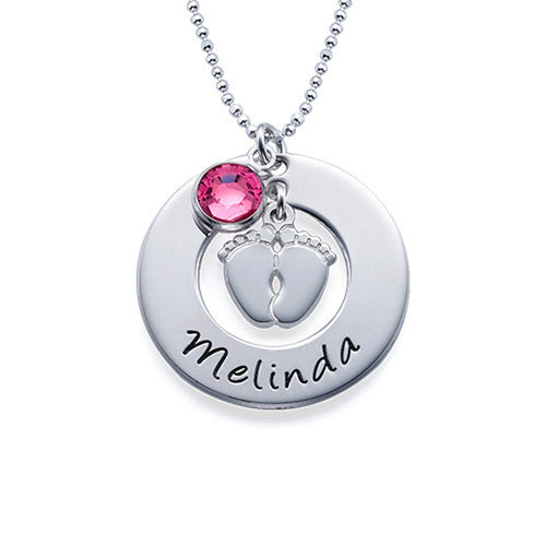 Personalized New Mom Necklace with Baby Feet