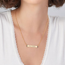 Load image into Gallery viewer, Numeral Bar Necklace with Cubic Zirconia in 18K Gold Plating