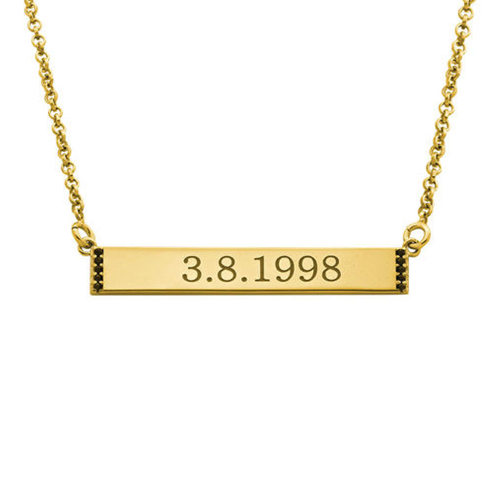 Numeral Bar Necklace with Cubic Zirconia in 18K Gold Plating