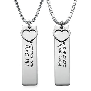 Personalized Bar Necklace for Couples