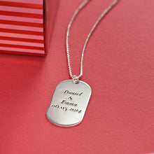 Load image into Gallery viewer, Dog Tag Necklace in Silver