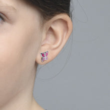 Load image into Gallery viewer, Pink Butterfly Earrings for Kids