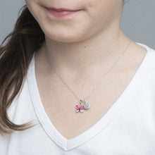 Load image into Gallery viewer, Pink Butterfly Necklace for Kids with Initial Charm