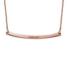 Load image into Gallery viewer, Sterling Silver Curved Bar Necklace with Name Engraved