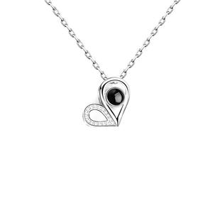 100 Languages I Love You Projection Necklace CZ Heart Pendant
