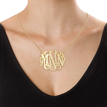 Load image into Gallery viewer, Custom Sterling Silver Large Monogram Necklace