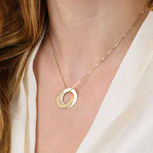 Load image into Gallery viewer, Russian Ring Necklace with 2 Rings Gold Plated