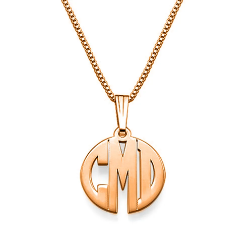 Custom Sterling Silver Block Letter Monogram Necklace