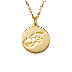 Script Initial Pendant Necklace in Circle