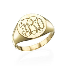 Load image into Gallery viewer, Signet Ring in Sterling Silver with Engraved Monogram