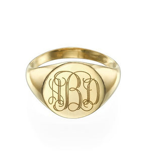 Signet Ring in Sterling Silver with Engraved Monogram