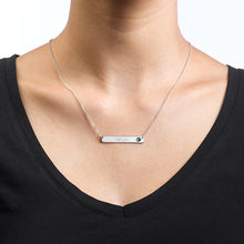 Load image into Gallery viewer, Silver Bar Necklace with Birthstone