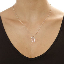 Load image into Gallery viewer, Silver Initial Necklace With Birthstone